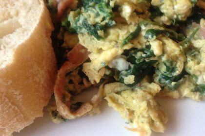 RECIPE: Scrambled Eggs with Spinach and Jamón Serrano