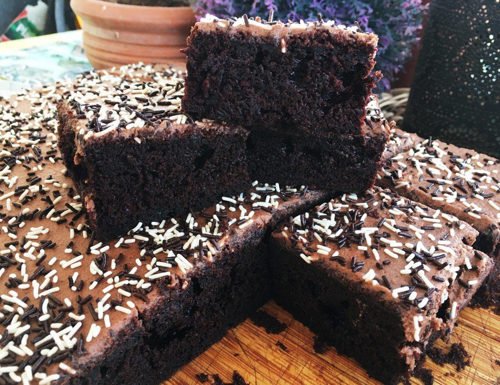 Chocolate Sprinkle Tray Bake