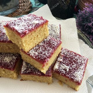 Jam and Coconut Tray Bake
