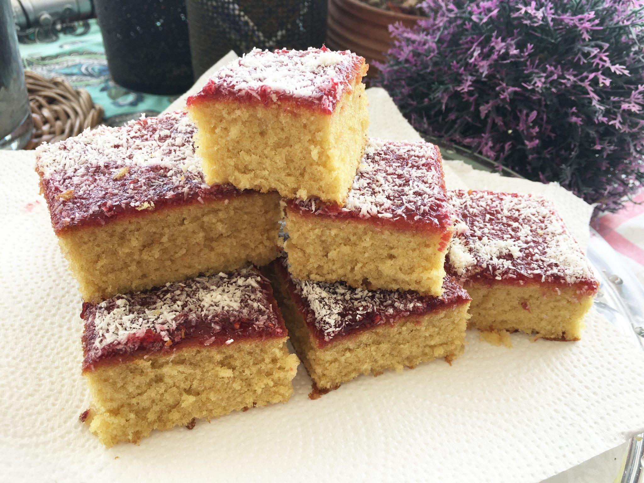 Jam and Coconut Tray Bake