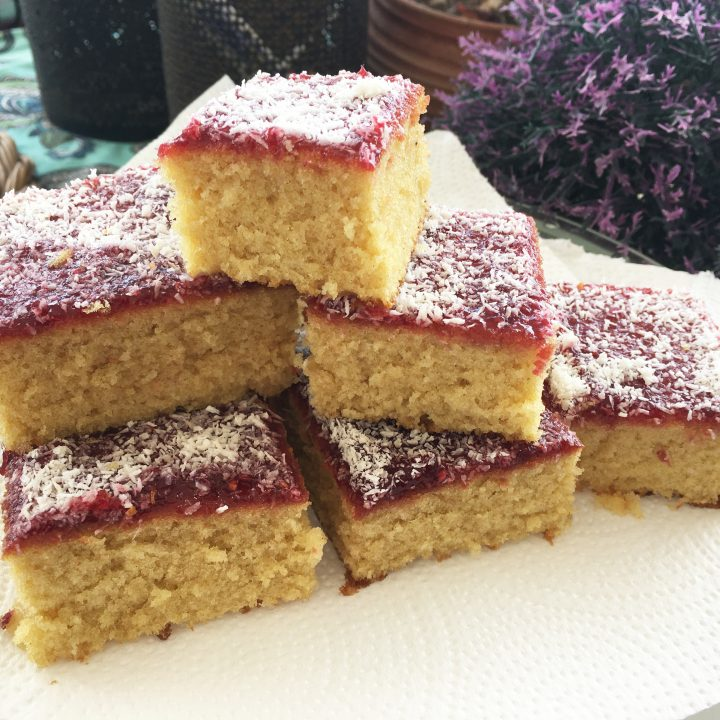 Traditional School Jam and Coconut Tray Bake
