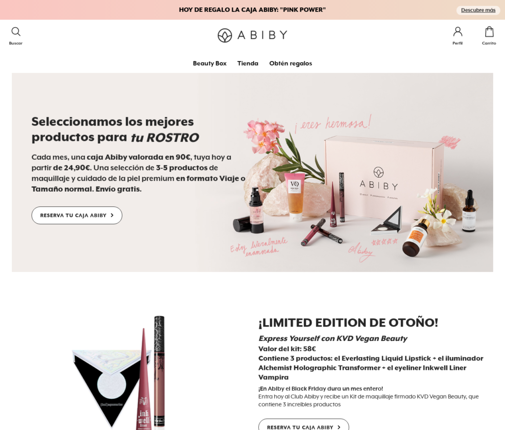 Abiby Monthly Beauty Box Subscription Website