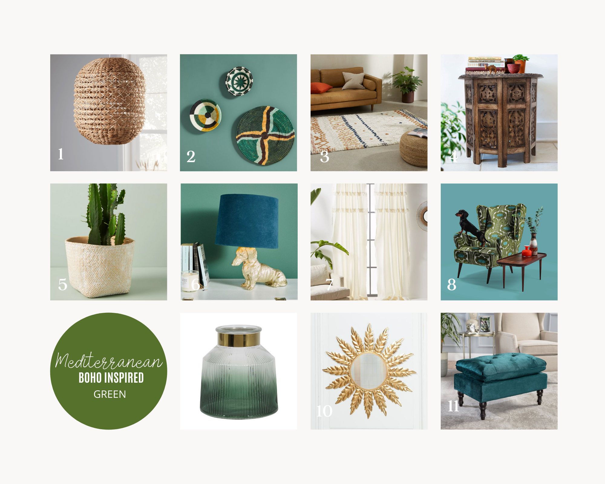 Mediterranean Boho Inspired Home Accessories Green