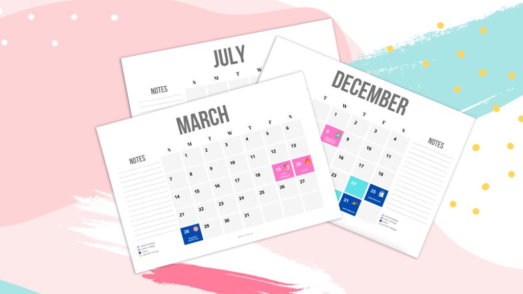 Printable Valencian School Calendar 2021