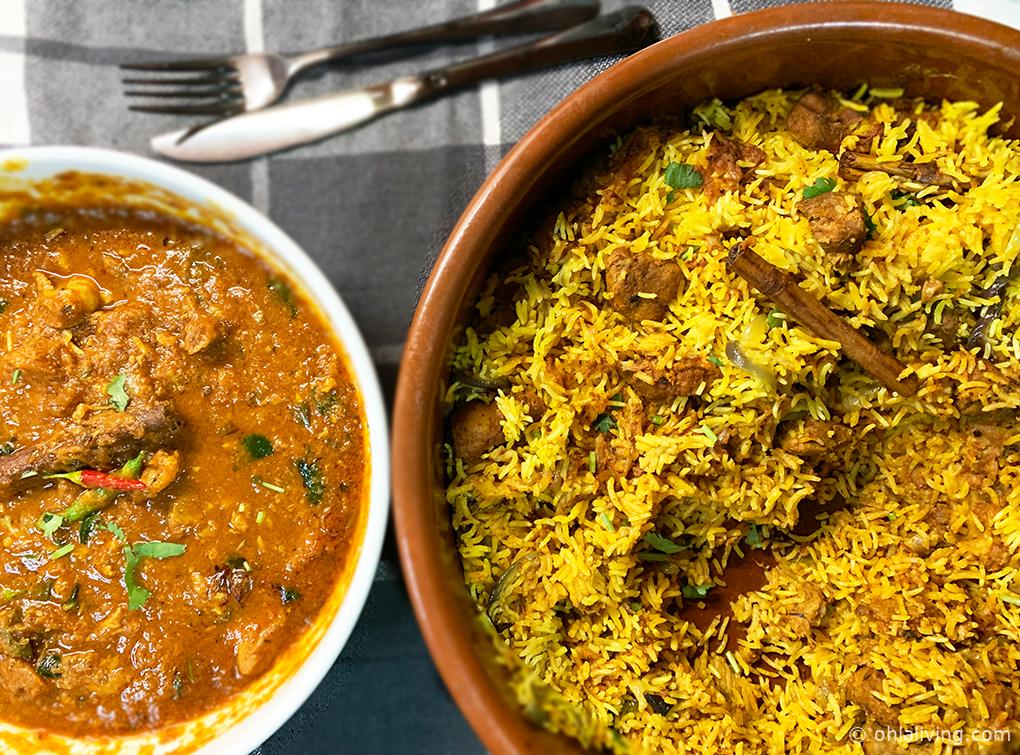 Perfect lamb biryani sauce and rice