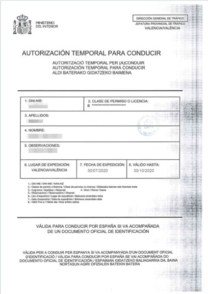 Temporary driving licence Spain