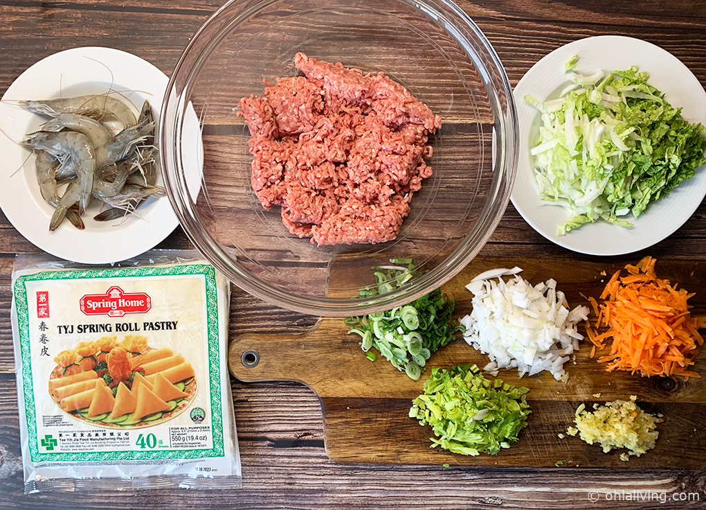 Filipino lumpia ingredients