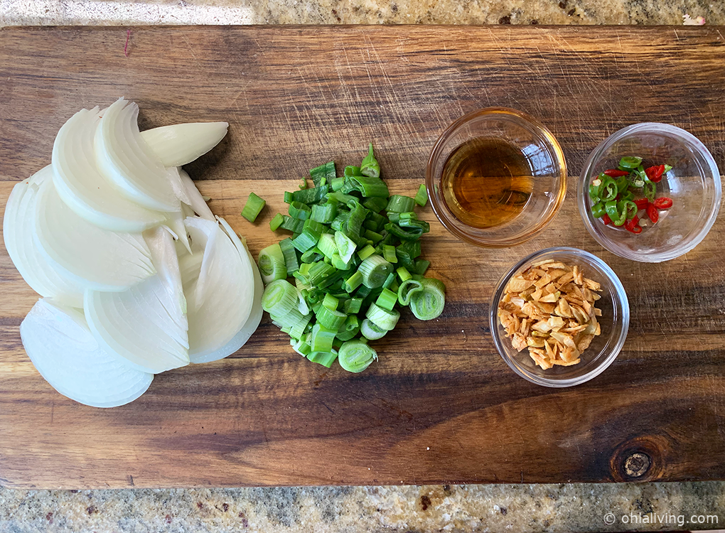 onions chillis and green onions