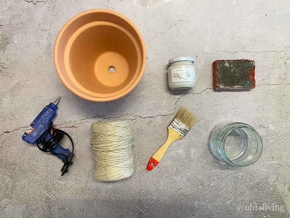 Materials you will need for a DIY rustic terracotta pots